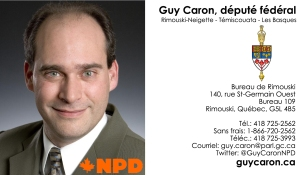 Guy Caron, Rimouski, Députéé