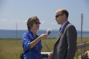 The mayor of the Magdalen Islands, Joel Arsenault, being interviews by Susan Woodfine.